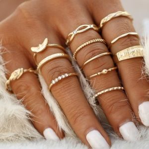 Jewelry - JUST IN! Set of Gold Plated Midi rings